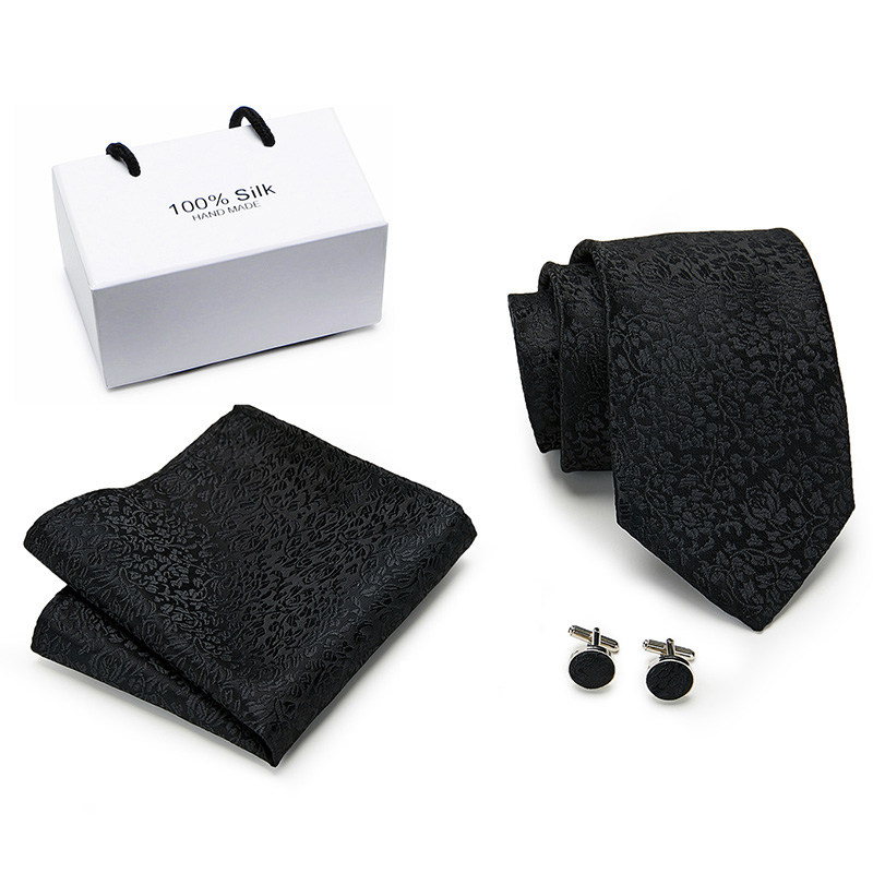 Solid Black 100% Silk Novelty Tie Set 8 Cm Solid Woven Necktie Fashion Designers  Tie For Men Wedding Business