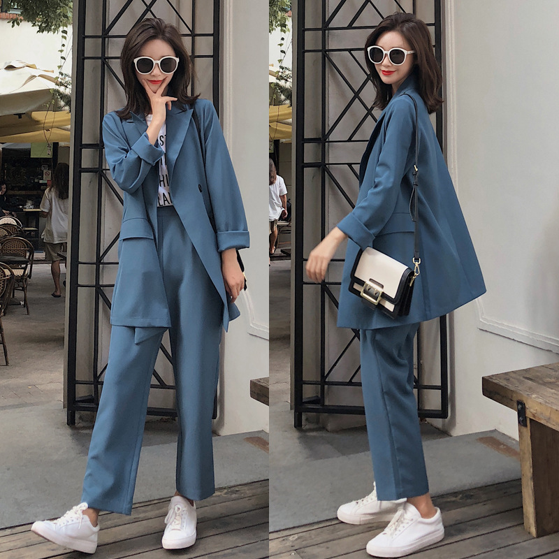 Women's Suits 2019 New Autumn Casual Solid Color High Quality Double-breasted Suit Jacket Fashion Straight Trousers Suit