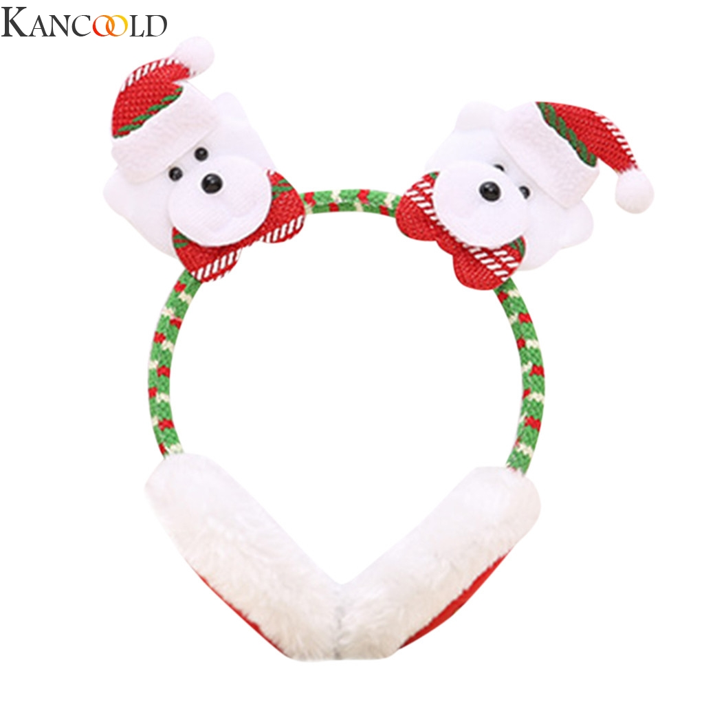 KANCOOLD Christmas Man And Women Winter Warm Plush EarMuffs Cute Ear Santa Claus  Headband Warm Wool Knitted Ear Warmer