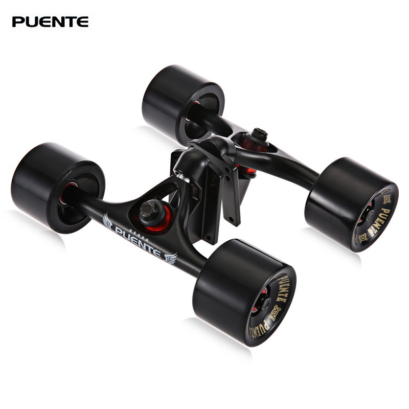 PUENTE 2pcs / Set Skateboard Truck with 4 Skateboard Wheels Riser Pad ABEC - 9 Bearing Bolt Nut For Mini Cruiser Longboard