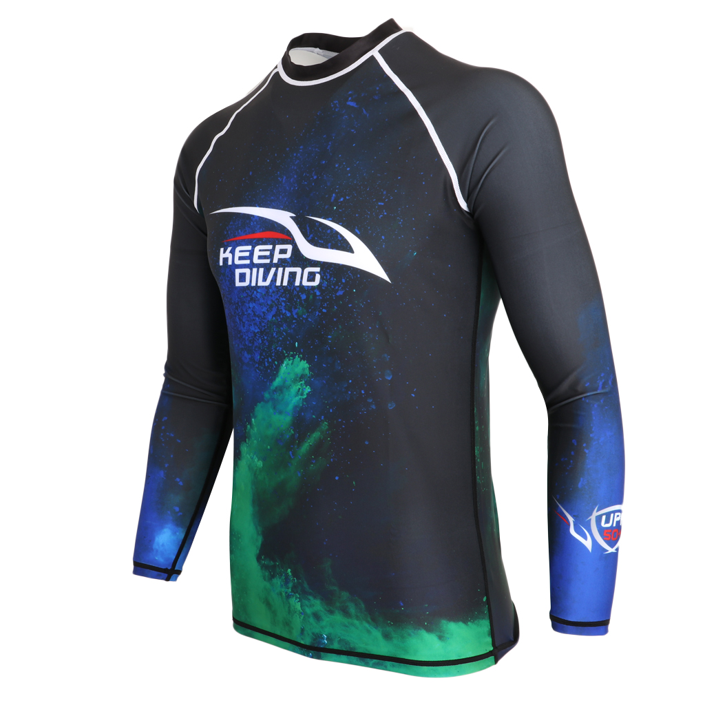 UPF 50+ Surfing Snorkeling Scuba Diving Wetsuit Top Shirt Rash Guard for Men Various Sizes Swimming Rash Guard