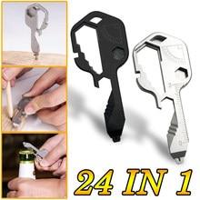 24 In 1 chiave multiuso portachiavi cacciavite apribottiglie chiave pendente Set di chiavi strumenti di misurazione portatili regolabili EDC all'aperto