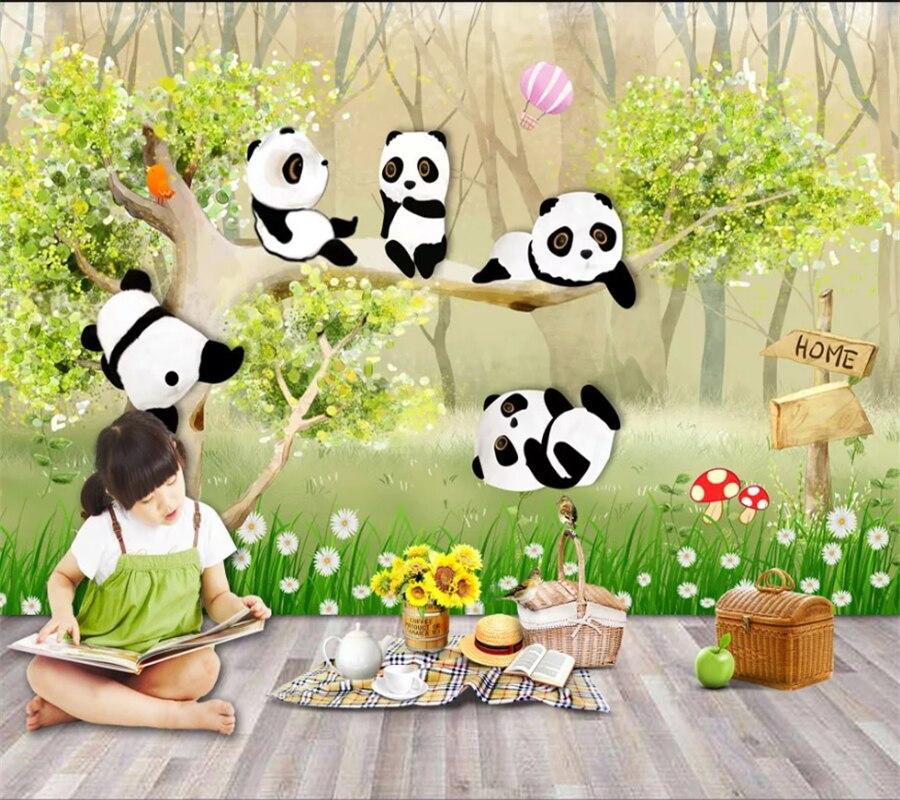Wellyu Kustom 3d Wallpaper Lucu Kartun Hand Painted Panda Kecil Kamar Anak Anak Lukisan Dinding Ruang Tamu Kamar Tidur Oboi Papel De Parede Wallpaper Aliexpress