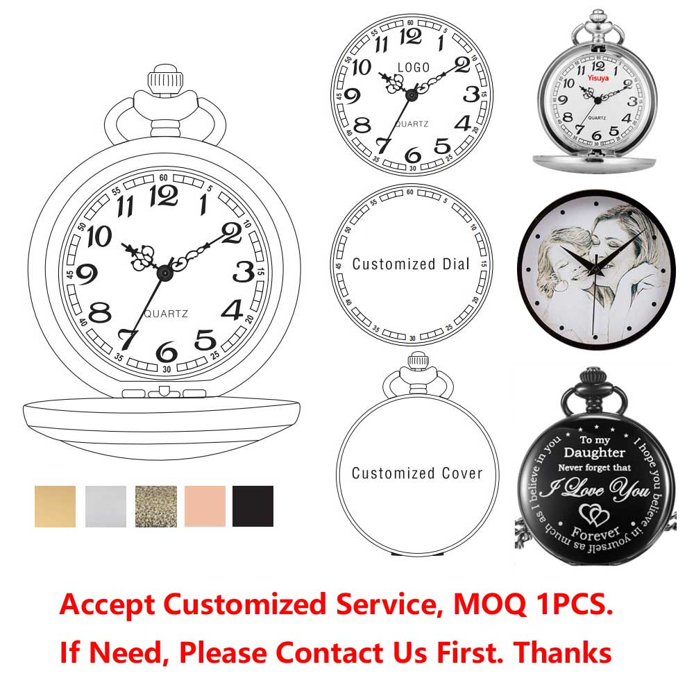 Accept LOGO Custom Retro Black Silver Gold Chain Pocket Watch Cool Gift Necklace Pendant Modern Men Fashion Clock Relojes Gifts