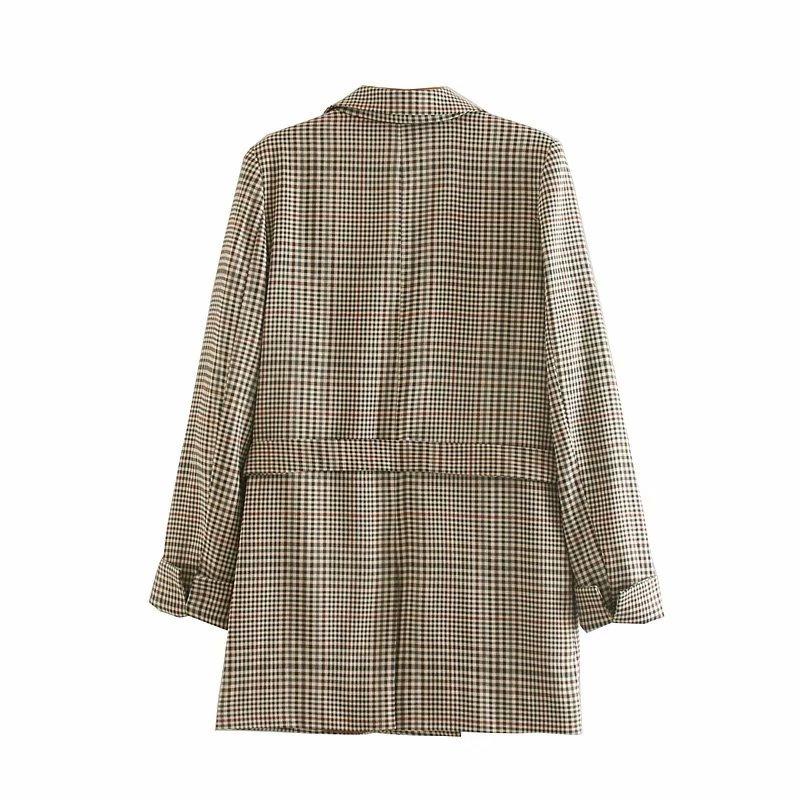 Autumn new women's jacket high quality Temperament Double-Breasted Belt Medium Long Plaid Blazer Office suit female 2019