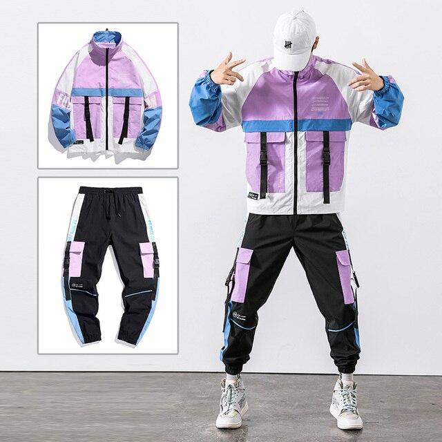 2021 Hip Hop Workwear jacket Mens Tracksuit Jacket+Pants 2PC Sets baseball loose Zipper Ribbons Coat & Long Pants Mens Clothing 1