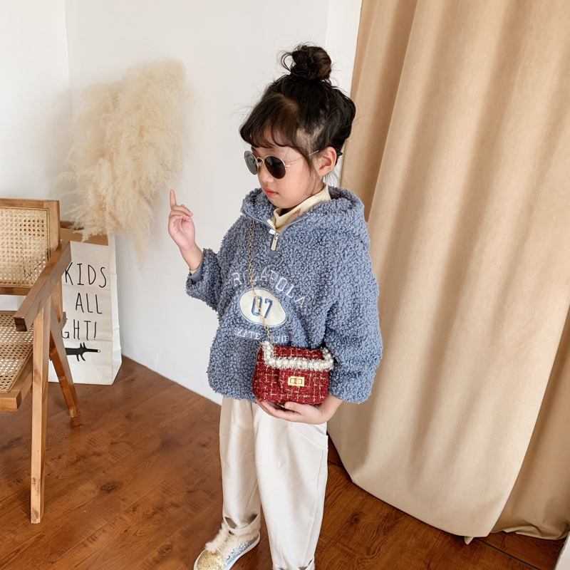 New Style Children Trim Package Fashion Western Style Graceful Pearl Square Sling Bag Cute Purse Little Girl Shoulder Bag
