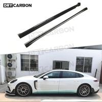 Car Side Skirt Extensions For Porsche Panamera 971 2017 2018 2019 Dry Carbon Fiber Bumper Winglet Splitters Car Styling 1