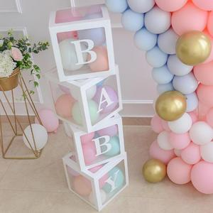 Goo Party Transparent Name Age Box Girl Boy Baby Shower Decor Baby 2 1st 1 One Birthday Party Decor Gift Babyshower Supplies