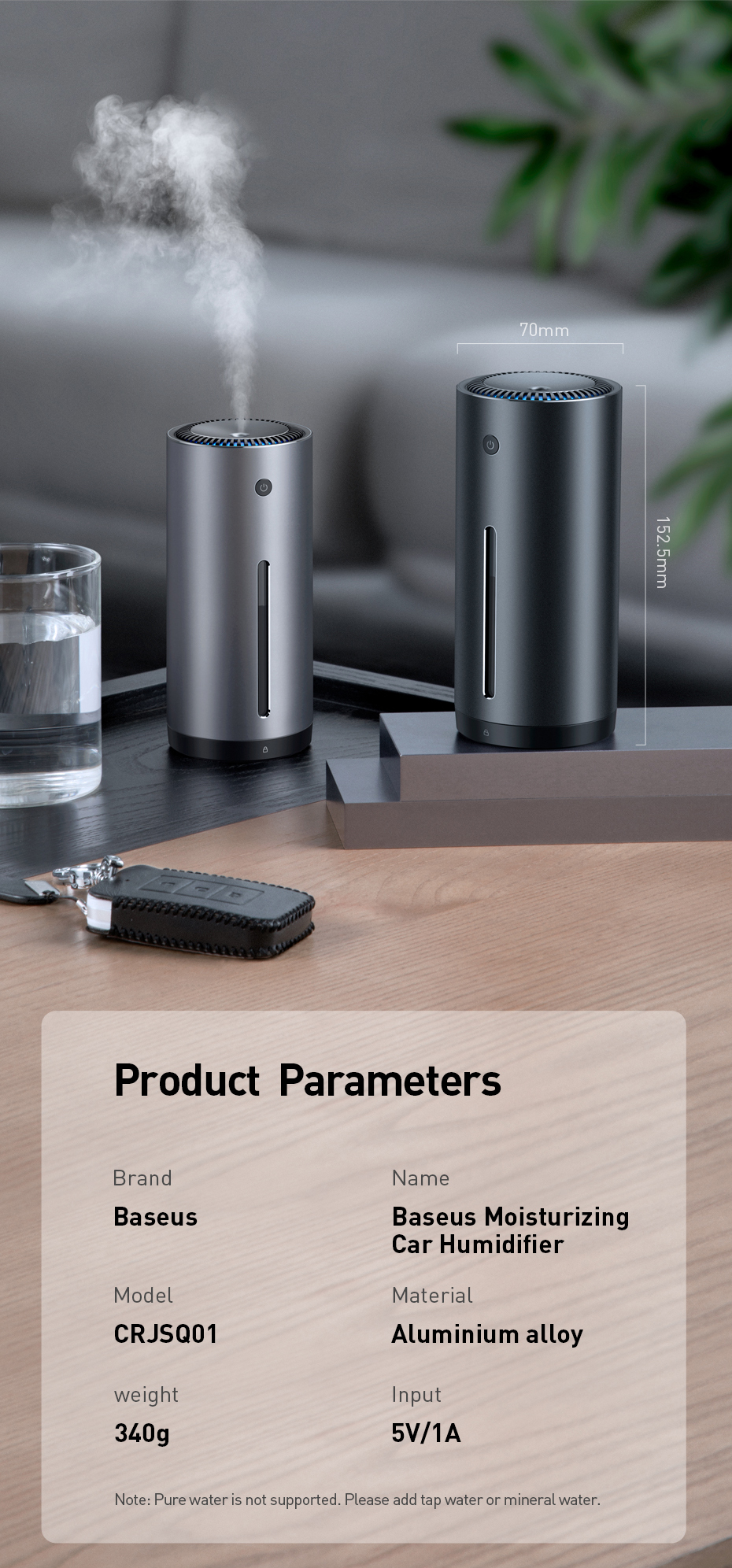 BASEUS Car Air Purifier with Essential Oil Aroma Diffuser and USB for Home and Office Air Purification 13