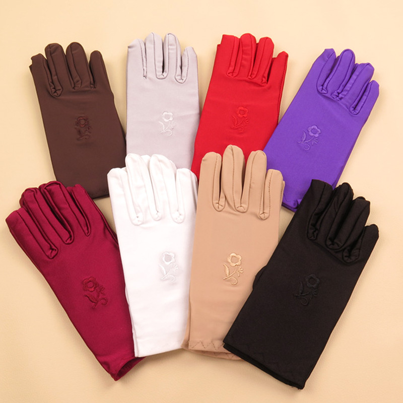1Pair Fashion Women Wrist Length Gloves Black White Red Short Satin Stretch Gloves Mittens  For Ladies Girls Summer Gloves