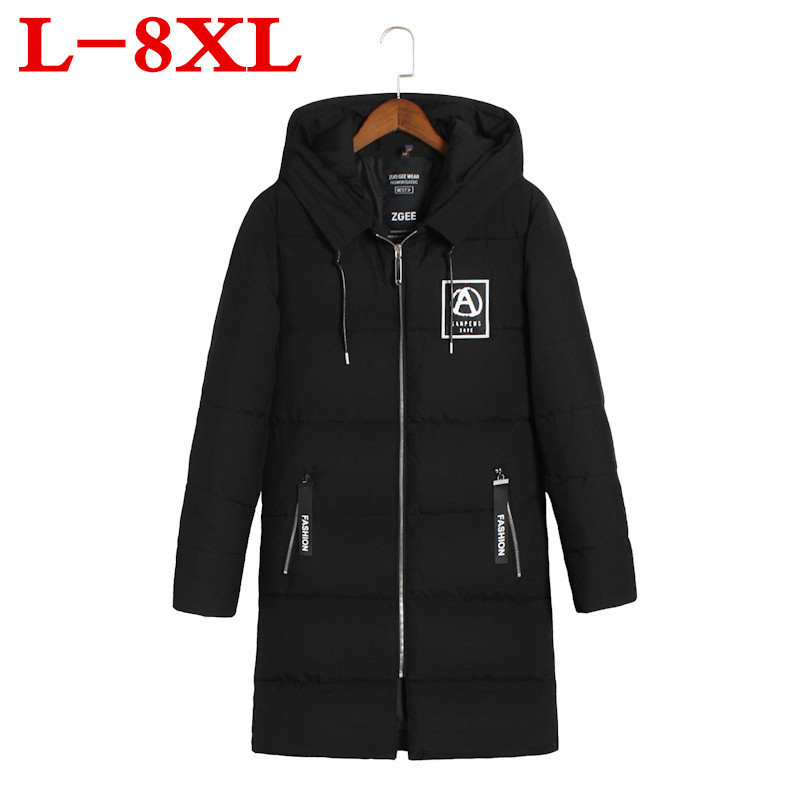 8XL 7XL Big Plus Size Winter  Jacket Man Cotton-padded Clothes Keep Warm Loose Coat Fertilizer Enlarge Code Hat Fashion Lengthen