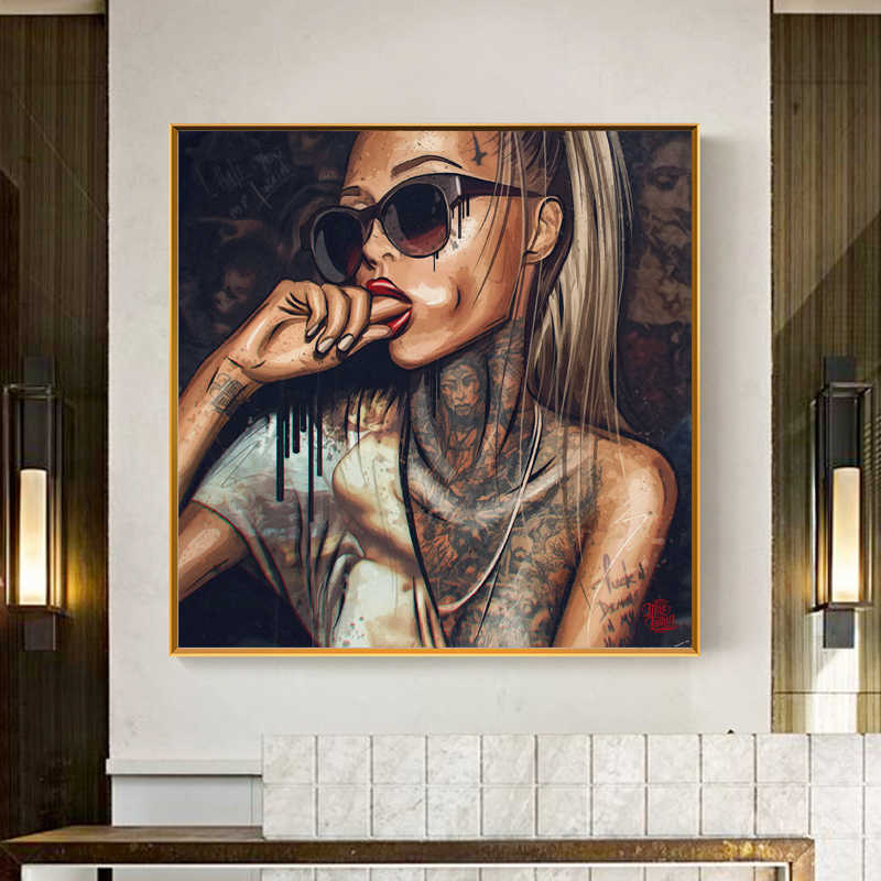 Pop Art Cool Girl Tattoo Pictures Abstract Modern African Canvas Painting New Graffiti Street Women Portrait Wall Art For Room