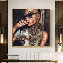 Reliabli arte abstrata legal tatuagem menina fotos sexy mulher graffiti rua arte retrato cartazes pintura da lona para sala de estar