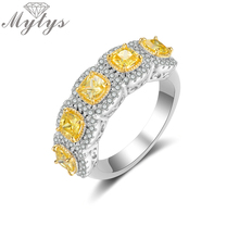 Mytys Fashion Romantic Ring Exquisite Created Yellow Color AAA Cubic Zircon Ring for Women Full Setring Luxury Jewelry R2149
