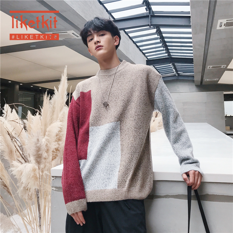 Liketkit Casual O-Neck Sweaters Men 2020 Color Patchwork Pullovers Male Loose Korean Fashion Hip Hop Colorful Knitted Sweaters