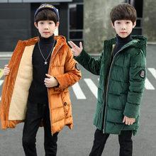 Winter Boy Long Parka Coat Teenage Warm Jackets Coat for Kids Children Pleuche Jackets Teens Boys Winter Hoodies Outerwear 5-14T цена 2017
