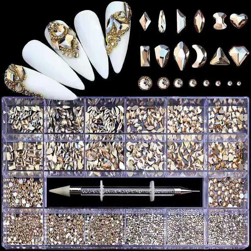 Bulk Hot Sale AB Flat Back Glass Nail Art Rhinestones Fancy Shaped Crystals Stones for DIY Nails Art Decorations
