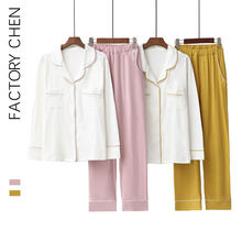 Ladies pajamas set cotton cardigan basic style simple lapel