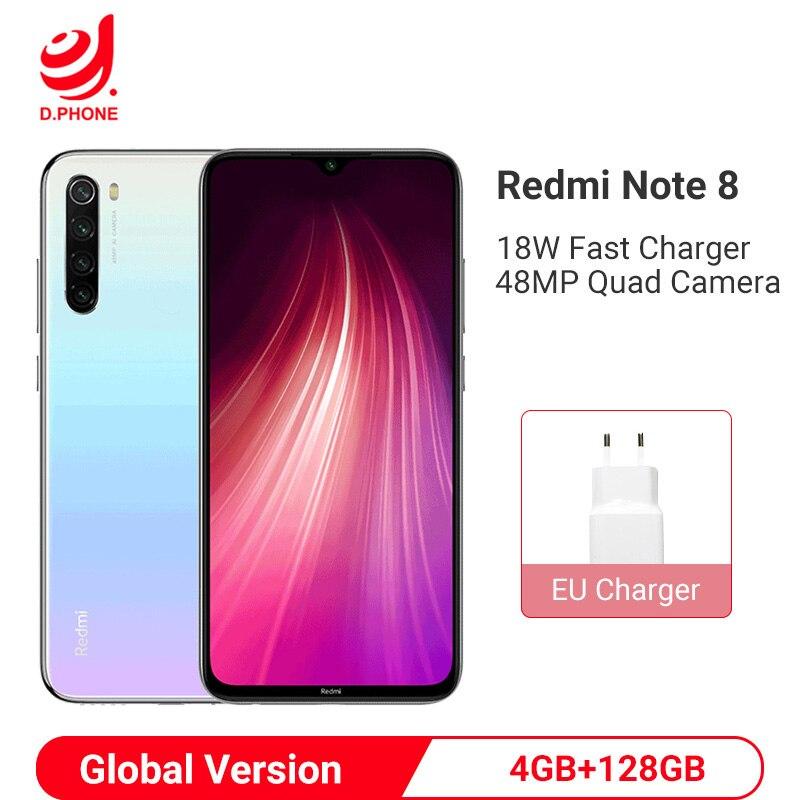 Xiaomi Redmi Note 8 с глобальной версией, 4 Гб, 128 ГБ, Смартфон Snapdragon 665, четыре ядра, 48мп, камера заднего вида, 6,3 дюйма, 4000 мАч, мобильный телефон