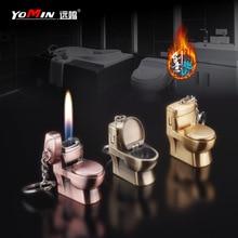 Creative Mini Flushing Toilet Butane Lighter Metal Grinding Wheel Lighter Tobacco Smoking Accessories Gift for Men Cool Lighter
