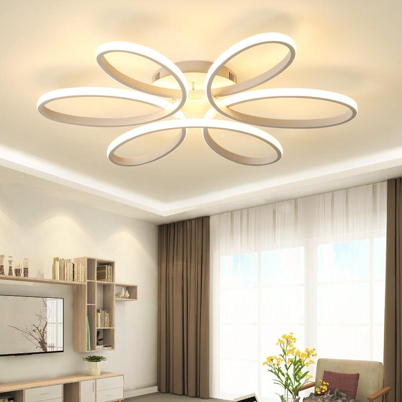 Luces de techo LED modernas para sala de estar dormitorio AC85 265V color blanco/Negro control remoto iluminación interior lámpara de techo