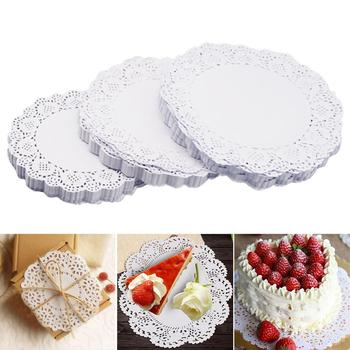 100 Pieces White Lace Round Paper Doilies Cake Packaging Pads Wedding Tableware Decoration Kitchen Oil-absorbing Paper pd045 100pcs 5 5 inch total colored vintage lace round green paper doilies paper scrapbooking craft doily paper mats paper pads