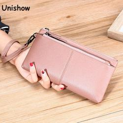 Wristlet Genuine Leather Women Wallet Long Lady Phone Purse Clutch Brand Designer Cowhide Leather Women Purse Big Female Wallet
