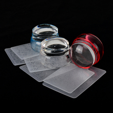 1 Set Clear Jelly Nail Art Stamper Scraper Set Transparent Silicone Marshmallow Polish Templates Nail Stamp Manicure Tools LA621