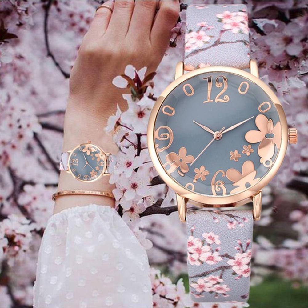 Fashion Hipster Women's Watch Three-dimensional Printing Flower Strap Quartz Ladies Watches Girl's Creative Watches Reloj Mujer