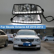 цена на 2pcs For Skoda Octavia A5 2010 2011 2012 2013 LED Daytime Running Light LED DRL Fog Lamp House 12V Waterproof Accessories
