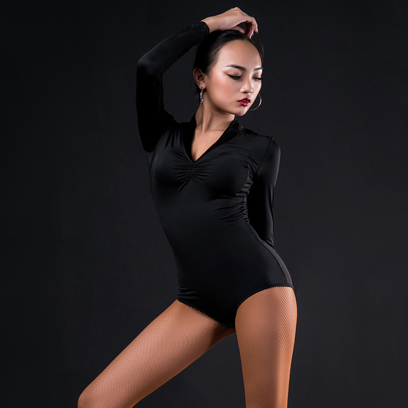 Latin Dance Costume Adult Black Long Sleeve Sexy Bodysuit Practice Clothes Ballroom Dance Dresses Latin Dance Shirts For Ladies