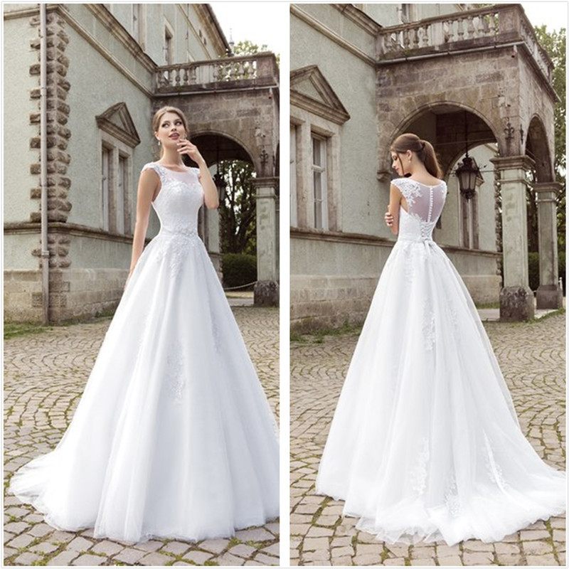 New Arrival 2016 Ball Gowns Romantic Wedding Dresses Lace Chepel Train Bridal Gowns Custom-Made