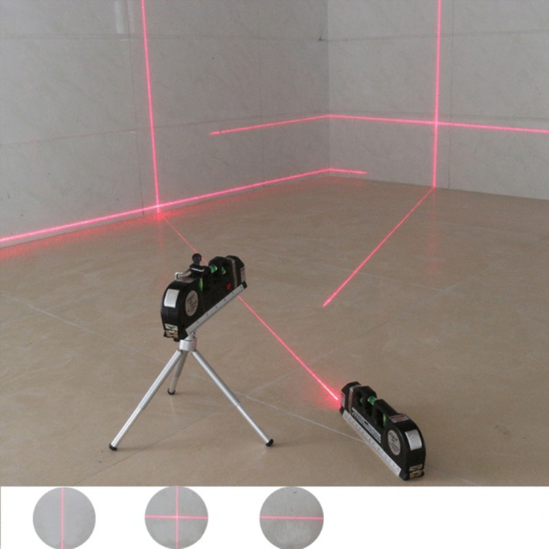 1 pc 4 em 1 nível de laser infravermelho cruz linha fita a laser com 2.5m fita medida multifunções laser ferramentas nível