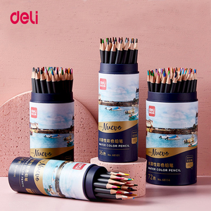 Deli 24/36/48/72 colors wood watercolor pencil Lead Hardness 2B professional colored pencils for Art School Office Supplies