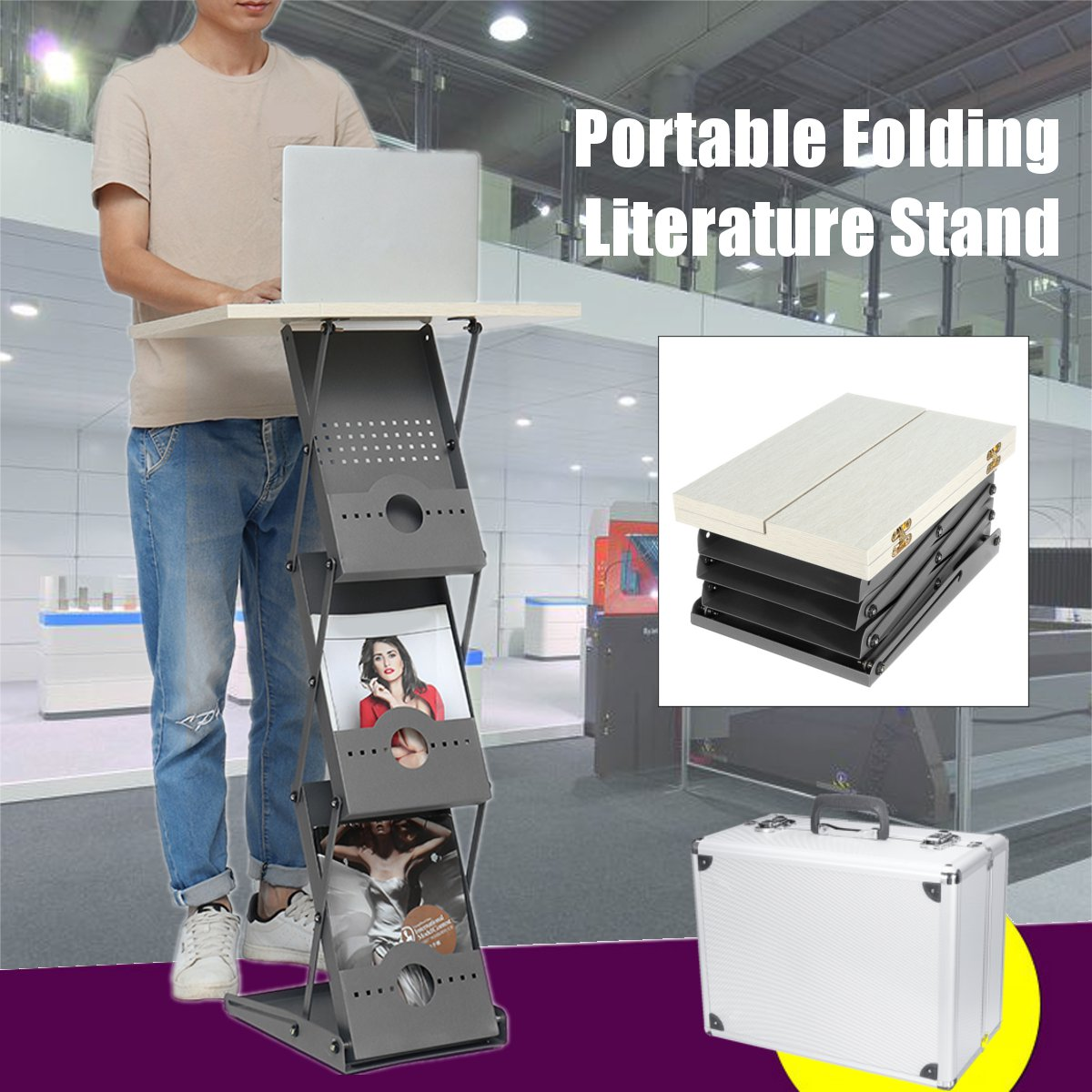 Folding Portable Literature Stand Laptop Desk Adjustable Exhibition Stand Floor Magazine Brochure Display Library Furniture Box