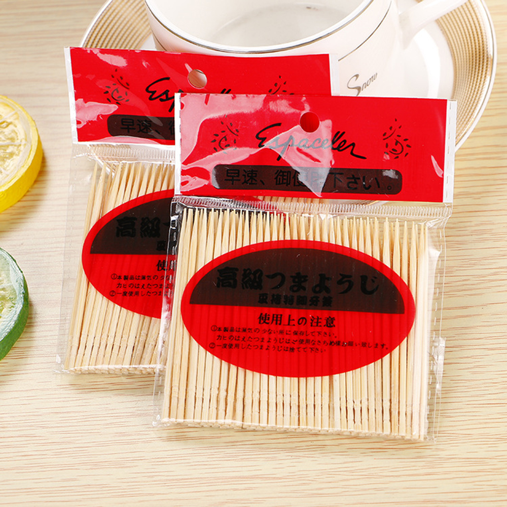 100pcs/Bag Toothpicks Disposable Wood Dental Natural Bamboo Natural Bamboo Home Family Hotel Restaurant Products Toothpick Tools(China)
