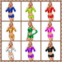 Neue Glänzende Pole Dance Club Sexy sets Frauen Reizvolle Schriftsätze Metallic Farbe Dessous Niedrigen Taille Höschen + Handschuhe + Weste drei-stück