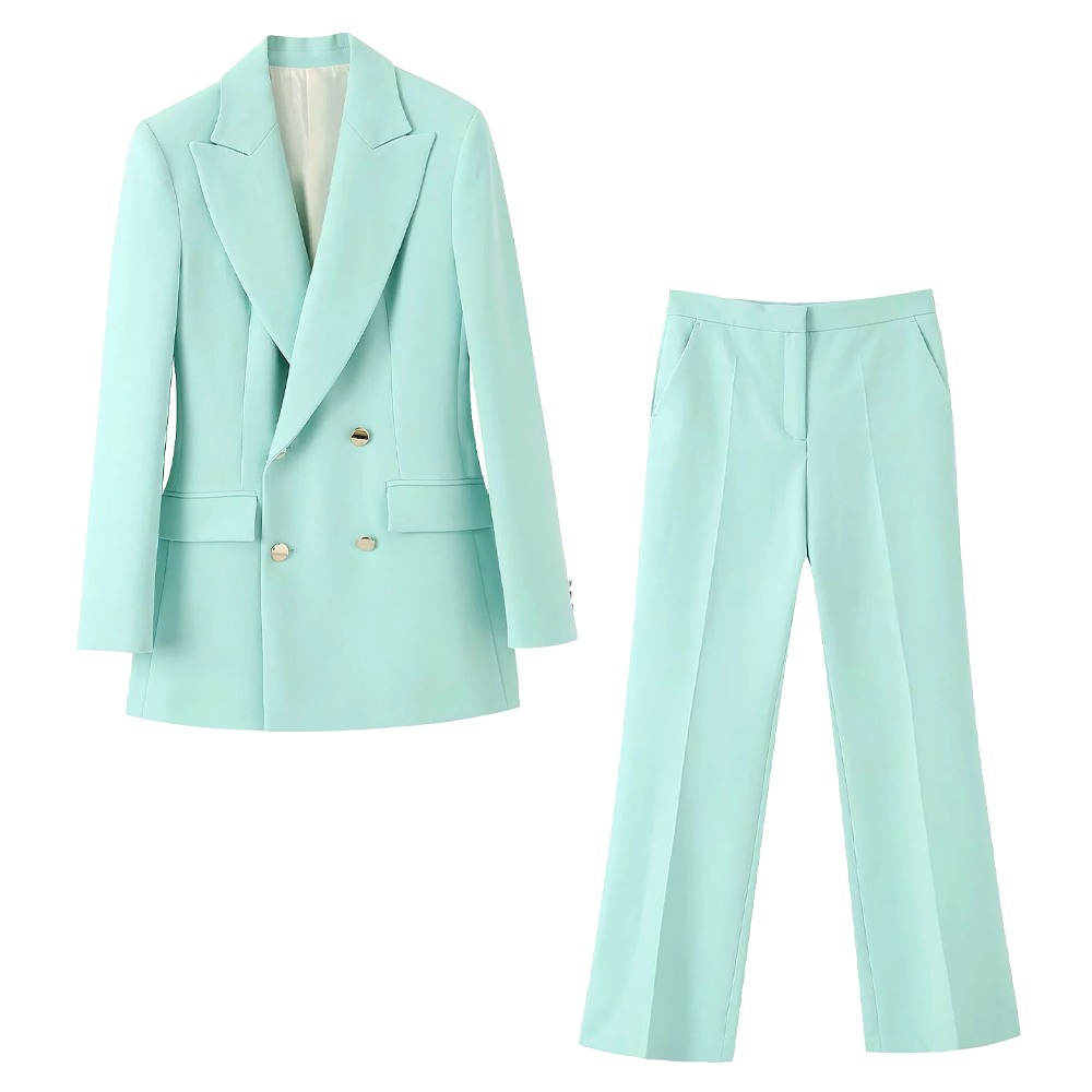 2020 new summer suits women two piece set Light green buttoned blazer & flared trousers high waist female woman clothes