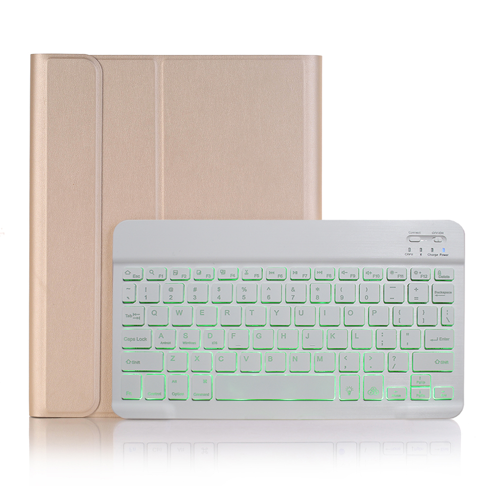 Gold with White Yellow For iPad 10 2 2019 7 7th 8th Generation A2200 A2198 A2197 Case with Backlit Keyboard