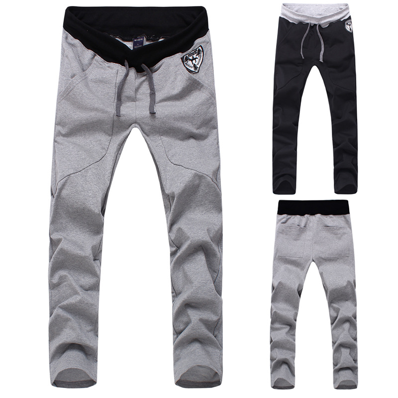 Hot Selling 2015 New Style Contrast Color Screw Type Fashion Casual Athletic Pants Thin MEN'S Trousers Embroidery Men's Trousers