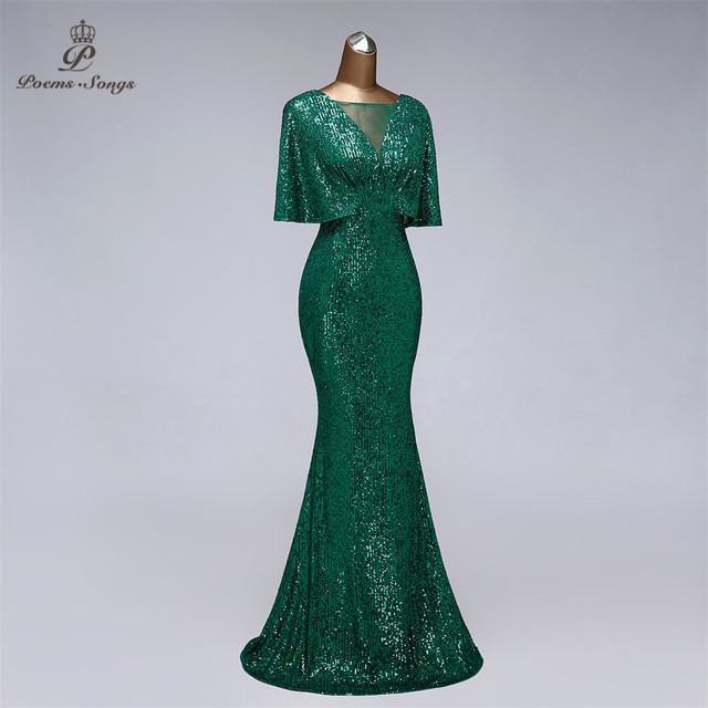 Sexy sequin Evening dress short sleeves vestidos de fiesta green dress evening gowns for women Party dress prom dresses 2