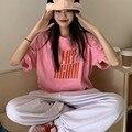 Шикарная Корейская женская розовая футболка с коротким рукавом и круглым вырезом, пуловер для отдыха, СВОБОДНЫЙ Модный ленивый топ с надпис...