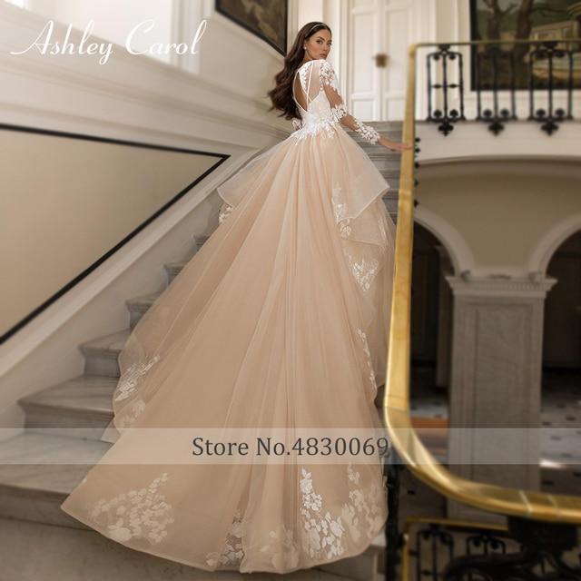 Ashley Carol A-Line Wedding Dress 2021 Glamorous Princess Long Sleeve Beading V-Neckline Appliques Bridal Gown Bride Dresses 5