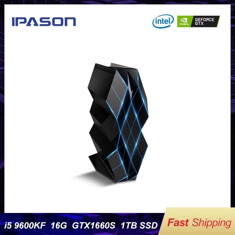 IPASON TaiDu Black Crystal Gaming Desktop Computer 9th I5 9600KF GTX1660S 6G D4 16G High Frequency 1T SSD Assemblly Gaming  PC