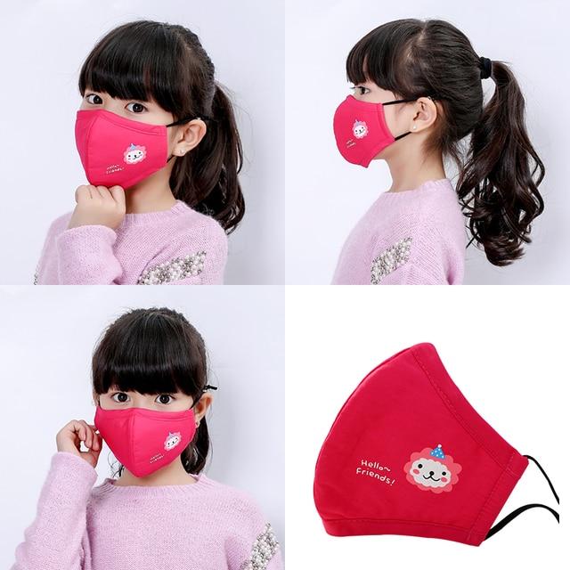 6PCS Anime Kids Children Mask Filter Cartoon Reusable Face Mouth Masks Cotton Washable Pink Black Cute Fabric Kawaii Mask 4