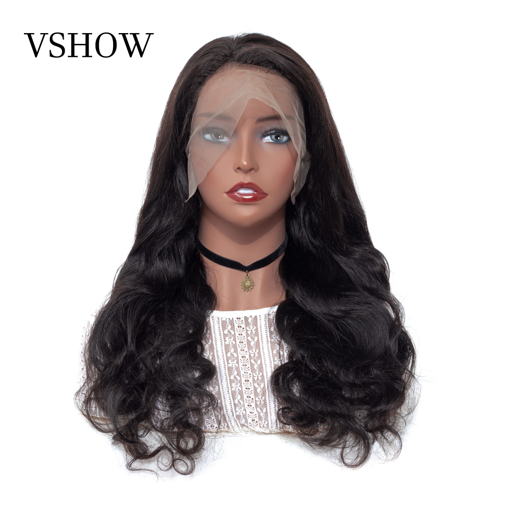 VSHOW Pre Plucked 13*4 Lace Front Human Hair Wigs For Women 13x6 Brazilian Body Wave Wig Black 150% Density Remy