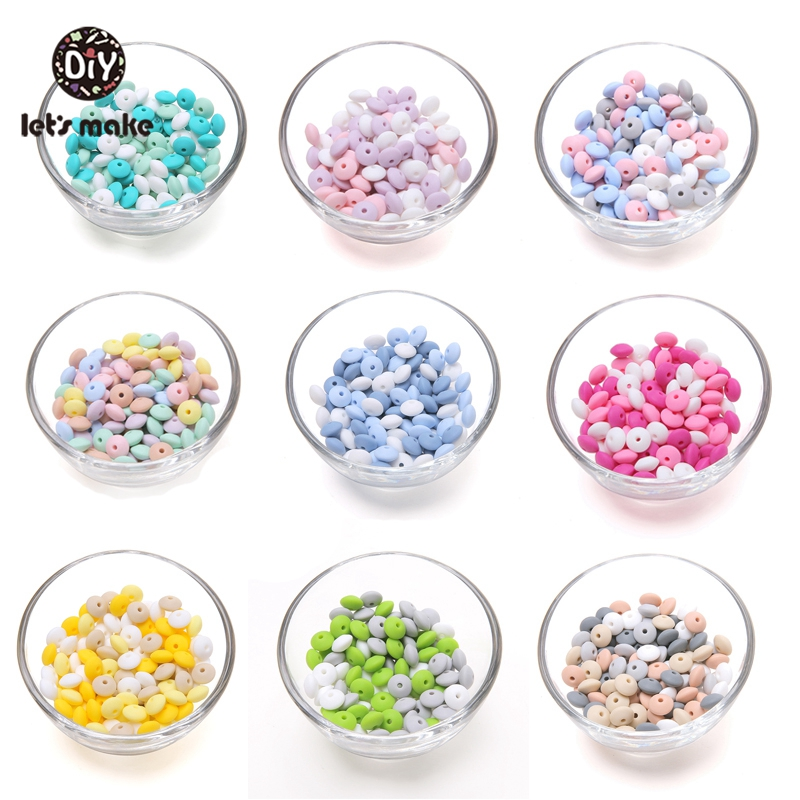 Let's Make Silicone Round Beads Baby Products 12mm 60pc Safe Food Grade Silicone Baby Teething Beads DIY Beads Making Bracelets