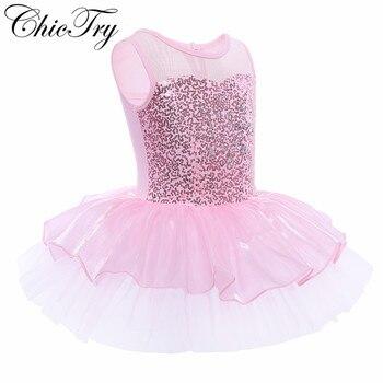 Kids Girls Sequins Sleeveless Mesh Tulle Tutu Dress Set for Chorus Modern Ballet Dance Stage Performance Ballerina Dancewear - sale item Stage & Dance Wear