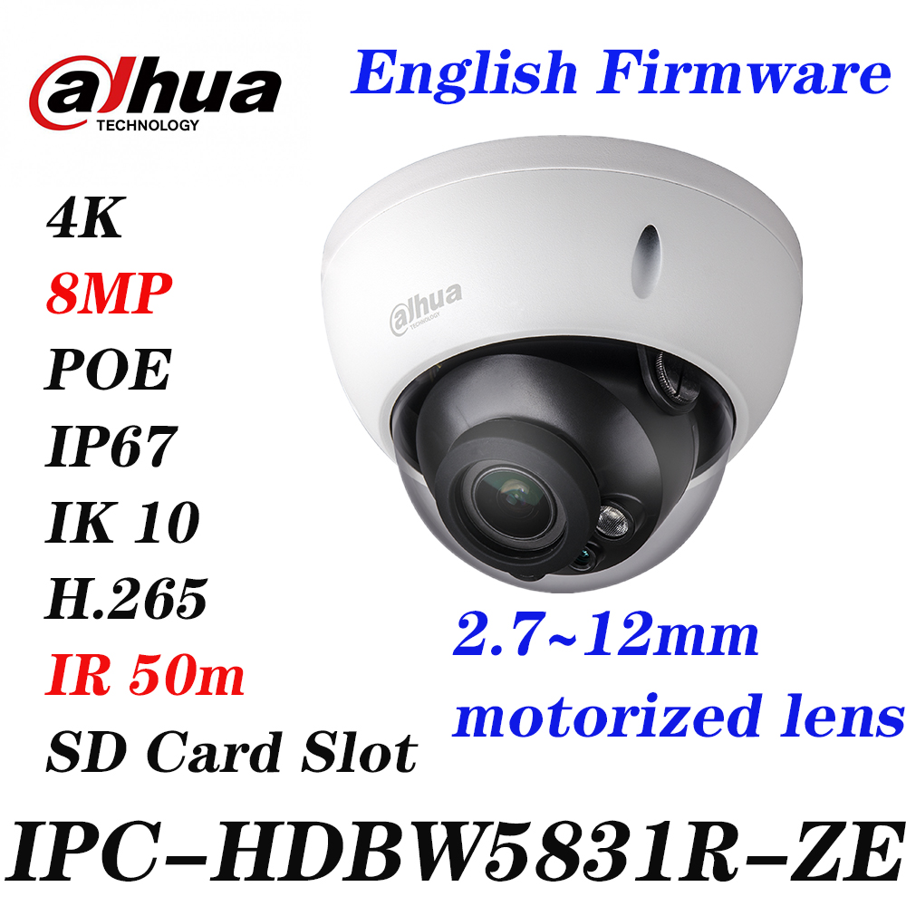 Dahua 6MP IP POE IP67 IK10 WDR IR Dome Motorized Camera H.265 IPC-HDBW5631E-ZE